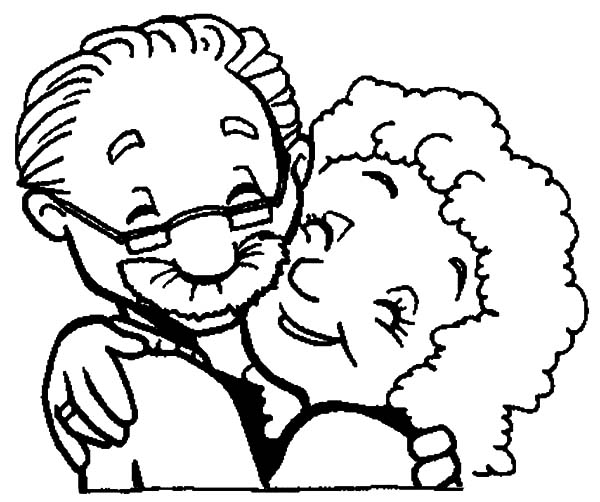 Grandmother, : Grandmother and Grandfather Love Each Other Coloring Pages