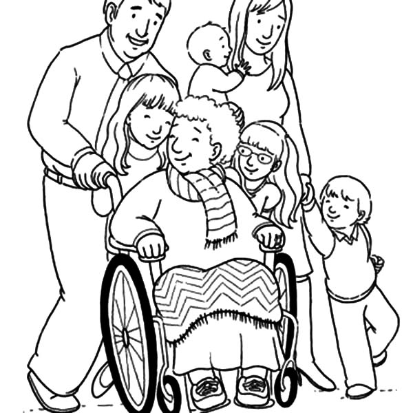 Grandmother, : Grandmother and Her Big Family Coloring Pages