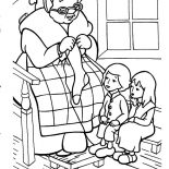 Grandmother, Grandmother Is Telling Story While Knitting Coloring Pages: Grandmother is Telling Story While Knitting Coloring Pages
