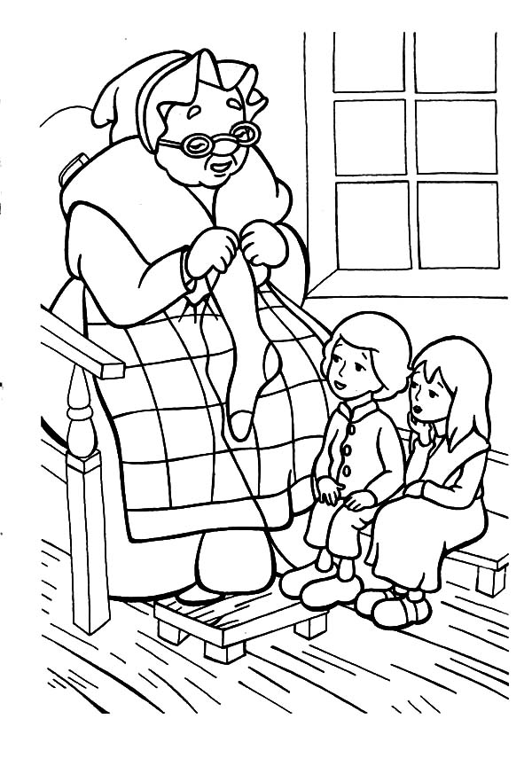 Grandmother, : Grandmother is Telling Story While Knitting Coloring Pages
