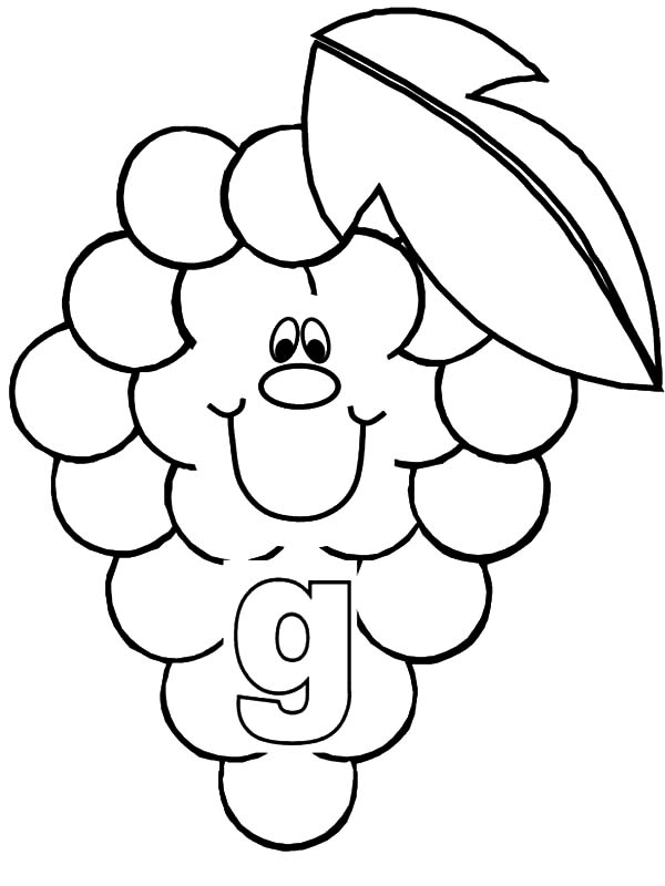 Grapes, : Grapes for Smiling Letter G Coloring Pages