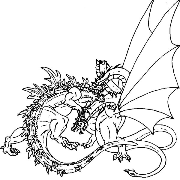 Godzilla, : Great Fight of Godzilla and Dragon Coloring Pages