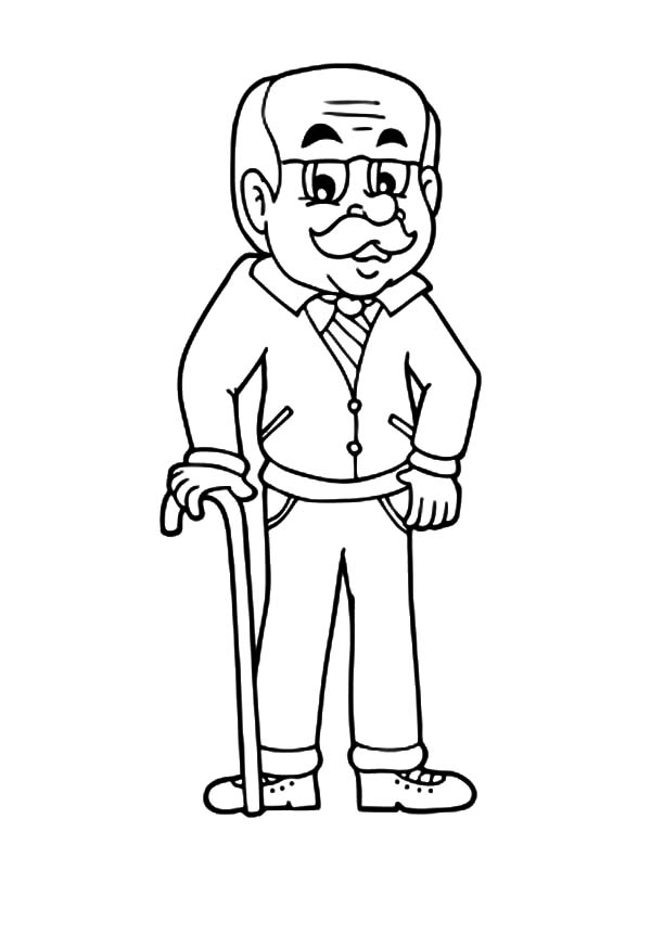 Grandfather, : Handsome Grandfather Coloring Pages