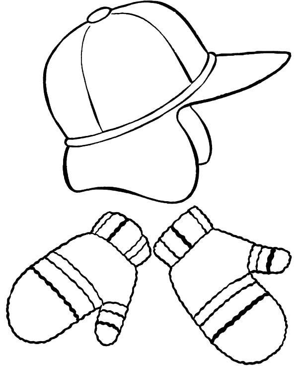 Mittens, : Hat and Mittens Coloring Pages