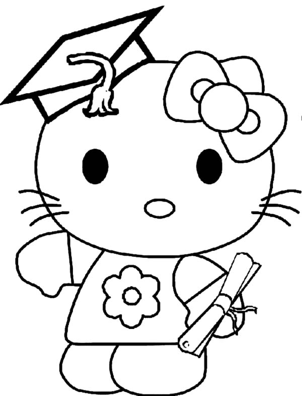 Graduation, : Hello Kitty Graduation Day Coloring Pages