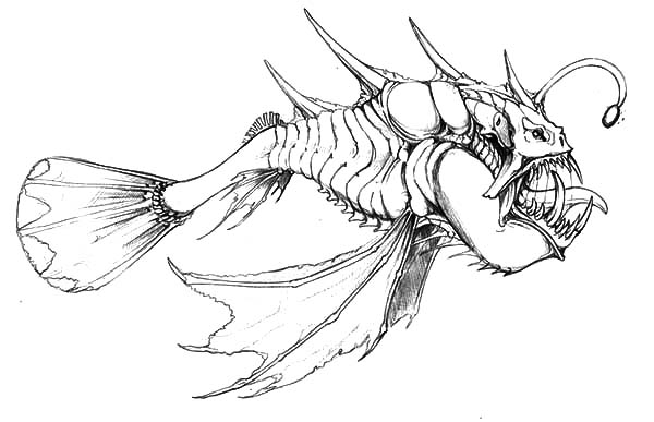 Monster Fish, : Hideous Monster Fish Coloring Pages