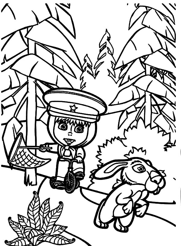 Masha And The Bear, : How to Draw Masha and the Bear Coloring Pages