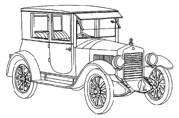 Model t Car, : How to Draw Model T Car Coloring Pages