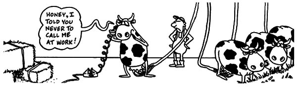 Milking Cow, : Jokes of Milking Cow Coloring Pages