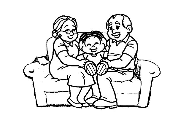 Grandmother, Kid Spoiled By His Grandmother And Grandfather Coloring Pages: Kid Spoiled by His Grandmother and Grandfather Coloring Pages