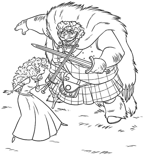 Merida, : King Fergus Train Merida Using Sword Coloring Pages