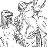Godzilla, King Kong Vs Godzilla Coloring Pages: King Kong vs Godzilla Coloring Pages