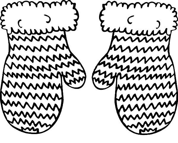 Mittens, : Knitted Mittens Coloring Pages