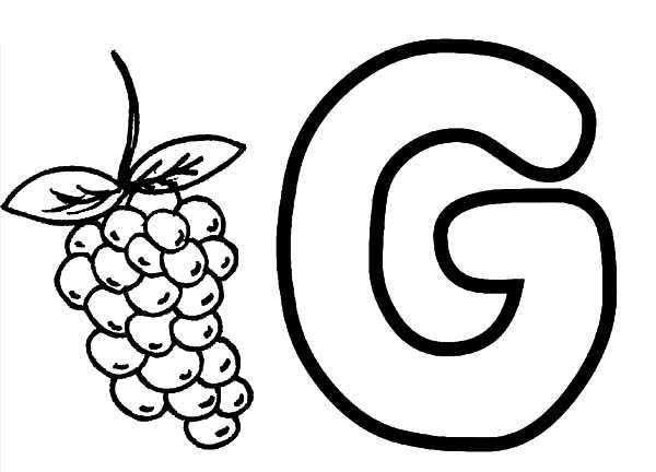Grapes, : Learning Alphabet G for Grapes Coloring Pages