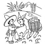 Mexican Donkey, Little Boy Pulling A Mexican Donkey Coloring Pages: Little Boy Pulling a Mexican Donkey Coloring Pages