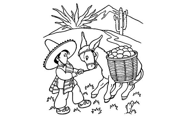 Mexican Donkey, : Little Boy Pulling a Mexican Donkey Coloring Pages