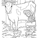 Milking Cow, Little Farmer Milking Cow With His Little Dog Coloring Pages: Little Farmer Milking Cow with His Little Dog Coloring Pages
