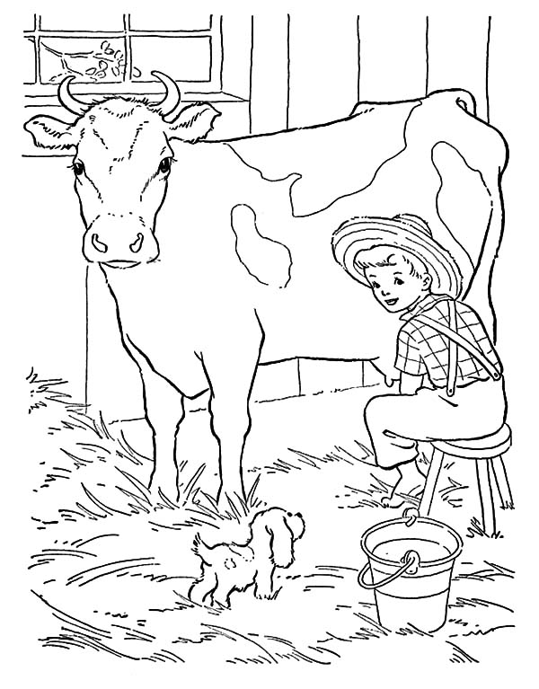 Milking Cow, : Little Farmer Milking Cow with His Little Dog Coloring Pages