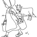 Milking Cow, Little Girl Done Milking Cow Coloring Pages: Little Girl Done Milking Cow Coloring Pages