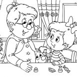 Grandmother, Little Girl Met Her Grandmother Coloring Pages: Little Girl Met Her Grandmother Coloring Pages