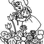 Garden, Little Girl Pick Flower In Garden Coloring Pages: Little Girl Pick Flower in Garden Coloring Pages