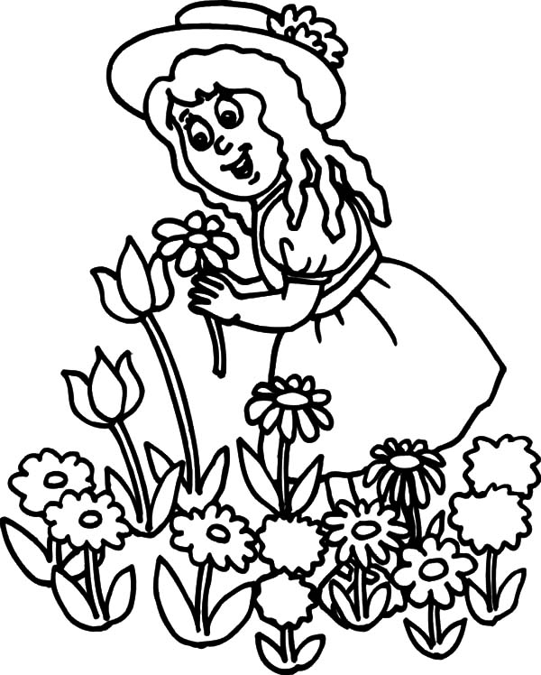 Garden, : Little Girl Pick Flower in Garden Coloring Pages