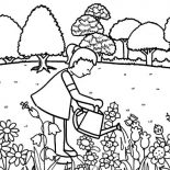 Garden, Little Girl Pouring Water In Garden Coloring Pages: Little Girl Pouring Water in Garden Coloring Pages