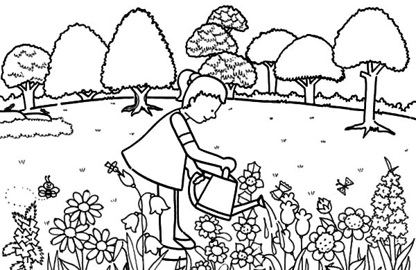 Garden, : Little Girl Pouring Water in Garden Coloring Pages