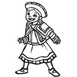Mexican Dress, Little Mexican Girl Wearing Mexican Dress Coloring Pages: Little Mexican Girl Wearing Mexican Dress Coloring Pages