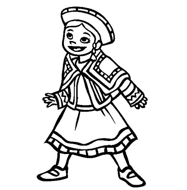 Mexican Dress, : Little Mexican Girl Wearing Mexican Dress Coloring Pages