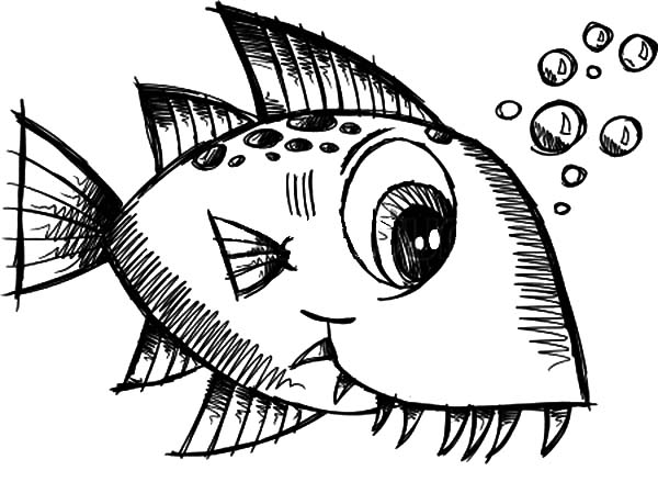 Monster Fish, : Little Monster Fish Coloring Pages