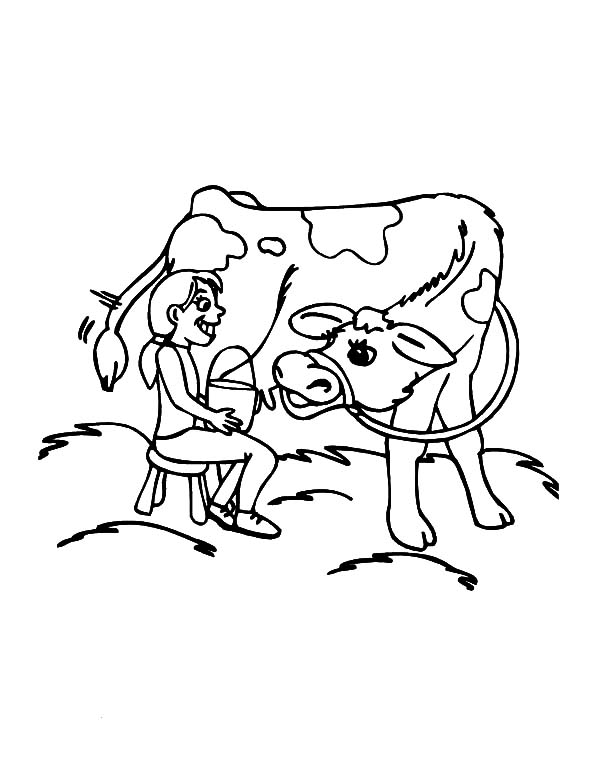 Milking Cow, : Little Want to Milking Her Cow Coloring Pages