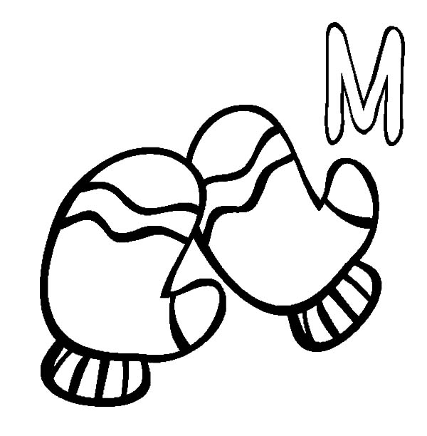 Mittens, : M is for Mittens Coloring Pages