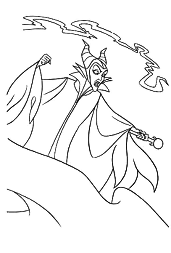 Maleficent, : Maleficent Black Magic Attack Coloring Pages