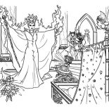 Maleficent, Maleficent Put Curse On Baby Princess Aurora Coloring Pages: Maleficent Put Curse on Baby Princess Aurora Coloring Pages