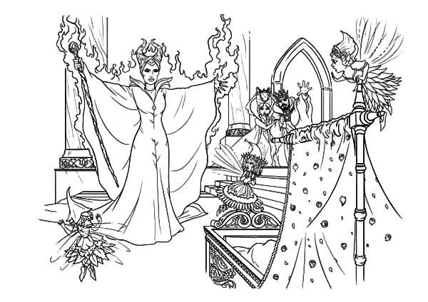 Maleficent, : Maleficent Put Curse on Baby Princess Aurora Coloring Pages