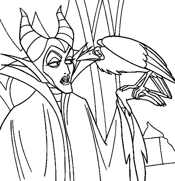 Maleficent, : Maleficent Talking to Her Pet the Crow Coloring Pages