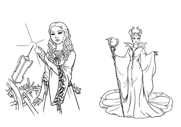 Maleficent, : Maleficent and Her Evil Plan to Princess Aurora Coloring Pages