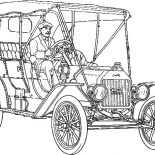 Model t Car, Man Driving Model T Car Coloring Pages: Man Driving Model T Car Coloring Pages