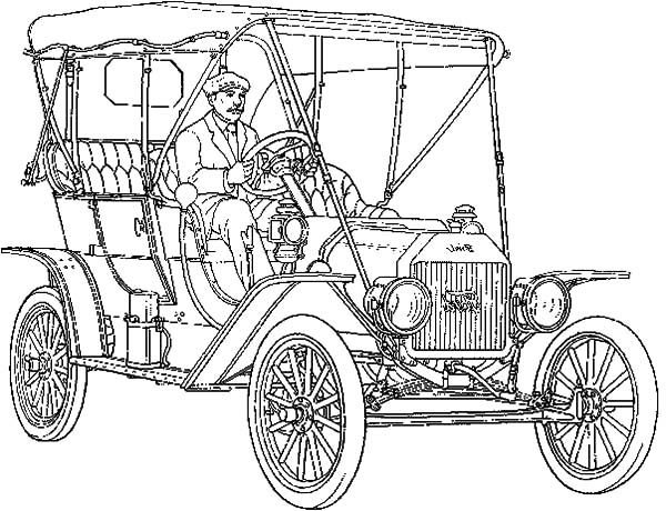 Model t Car, : Man Driving Model T Car Coloring Pages