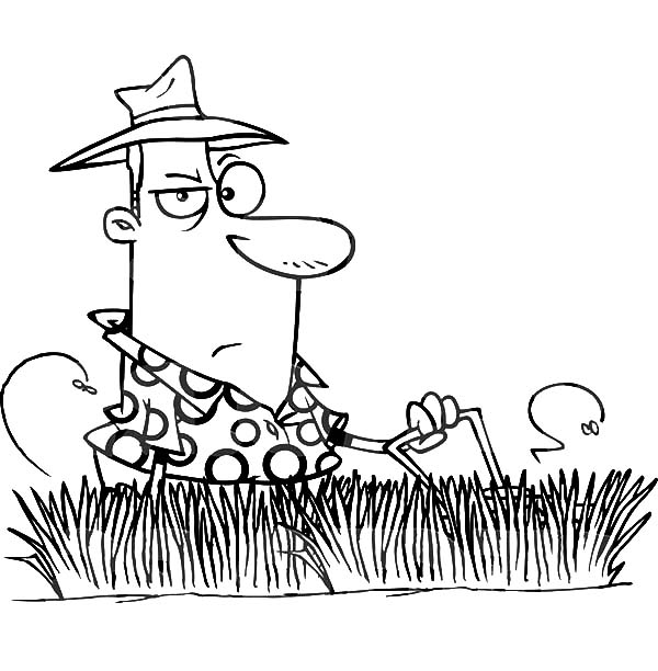 Grass, : Man Mowing Tall Grass Coloring Pages