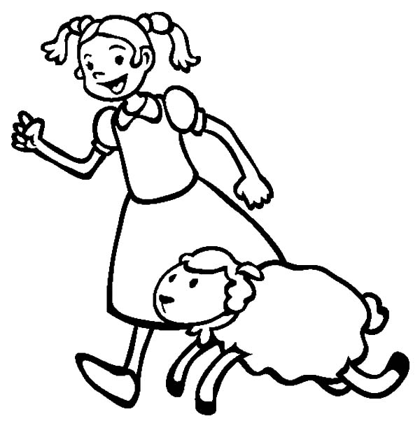Mary Had a Little Lamb, : Mary Had a Little Lamb Running Beside Her Coloring Pages