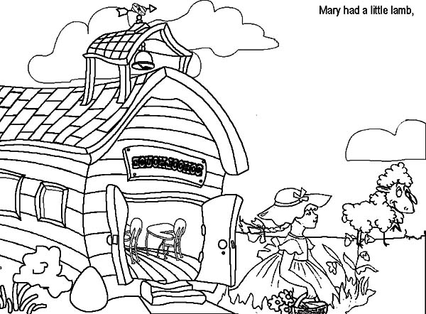 Mary Had a Little Lamb, : Mary Had a Little Lamb She Just Come Outside Her House Coloring Pages