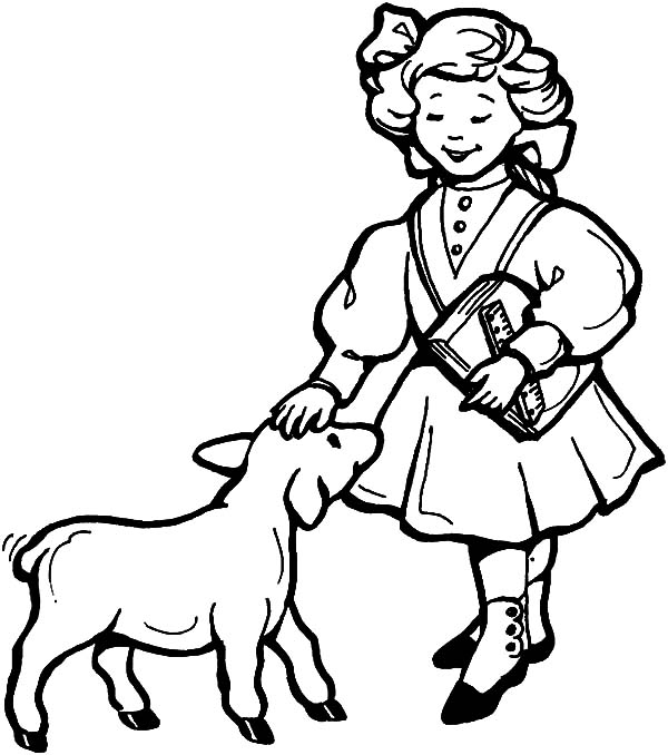 Mary Had a Little Lamb, : Mary Had a Little Lamb Song Coloring Pages
