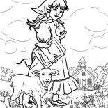 Mary Had a Little Lamb, Mary Had A Little Lamb They Play At The Meadow Coloring Pages: Mary Had a Little Lamb They Play at the Meadow Coloring Pages