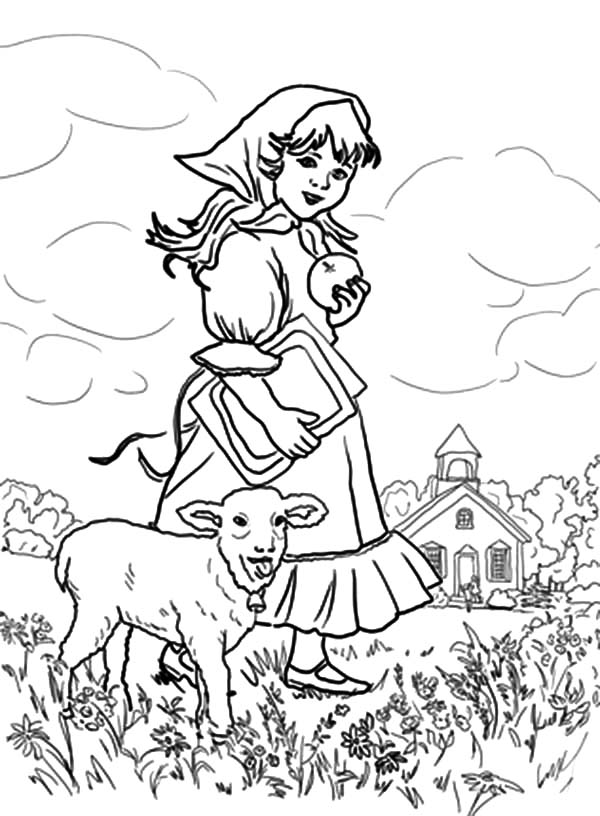 Mary Had a Little Lamb, : Mary Had a Little Lamb They Play at the Meadow Coloring Pages