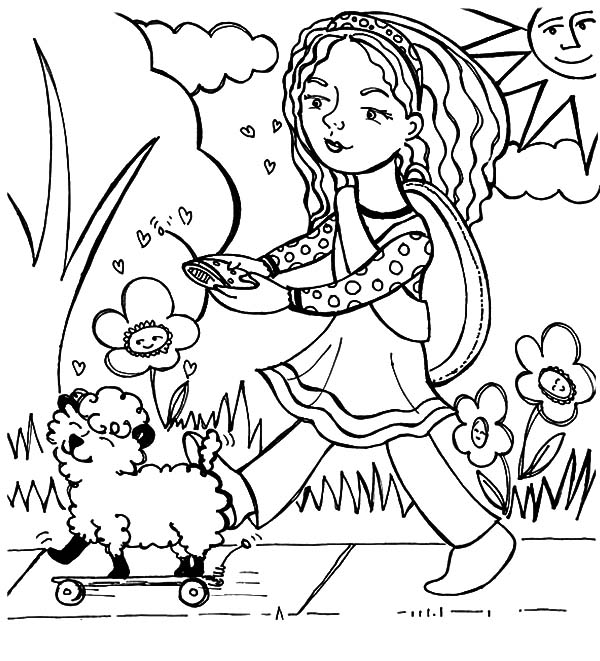 Mary Had a Little Lamb, : Mary Had a Little Lamb and It's a Remote Control Robot Coloring Pages