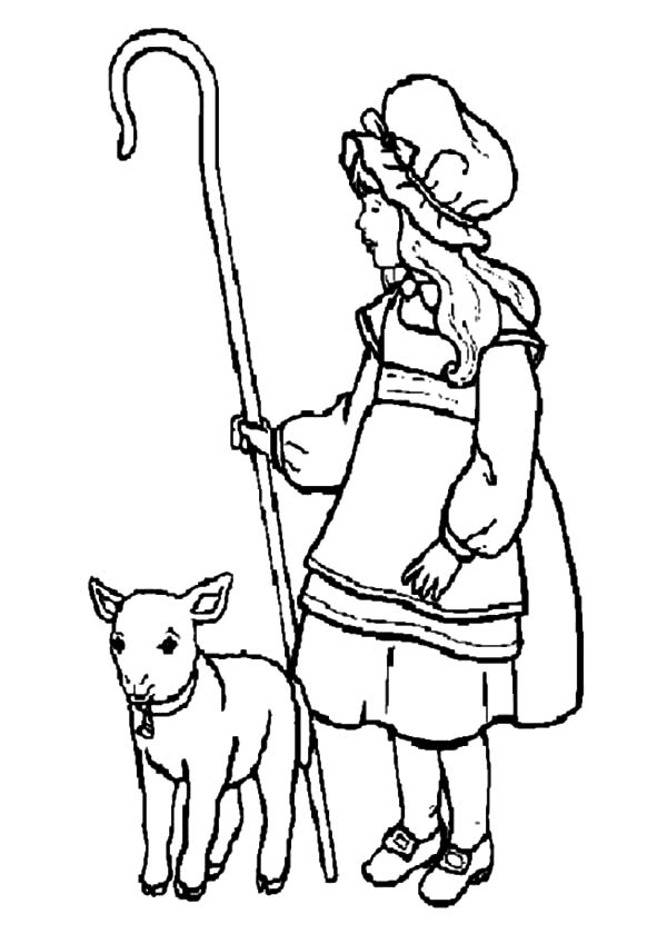 Mary Had a Little Lamb, : Mary Had a Little Lamb and She Shepherds it Coloring Pages