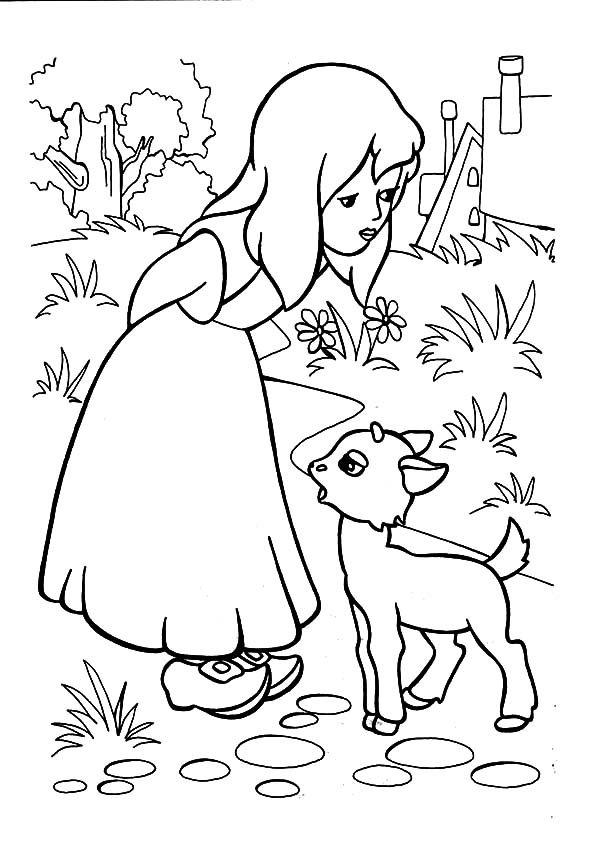 Mary Had a Little Lamb, : Mary Had a Little Lamb to Play with Her Coloring Pages