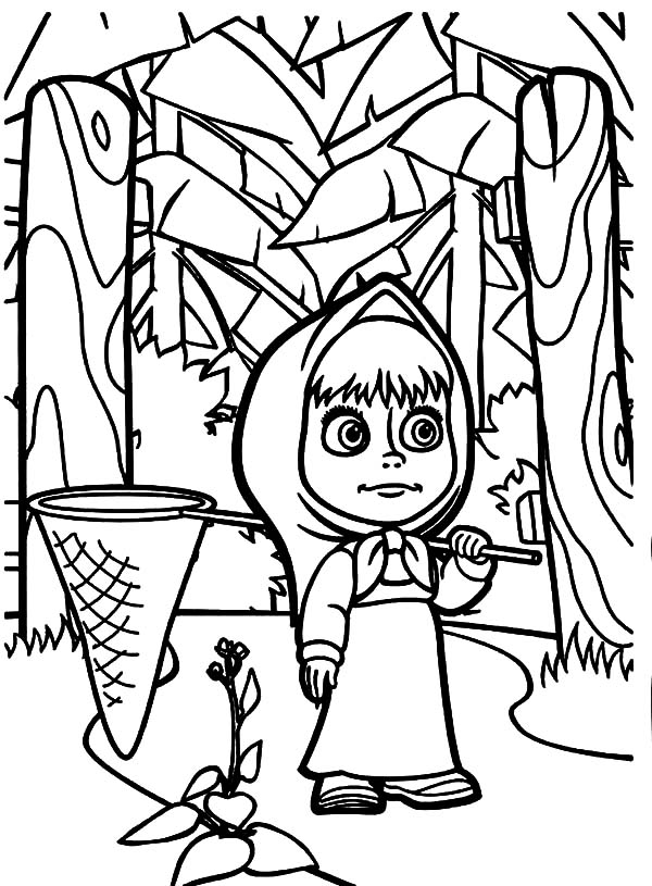 Masha And The Bear, : Masha and the Bear Alone in the Jungle with Butterfly Catcher Coloring Pages